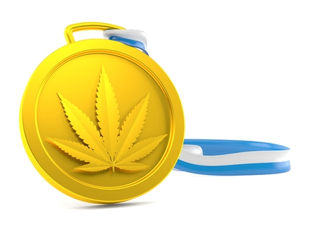 Cannabis leaf medal isolated on white background. 3d illustration Stock Photo