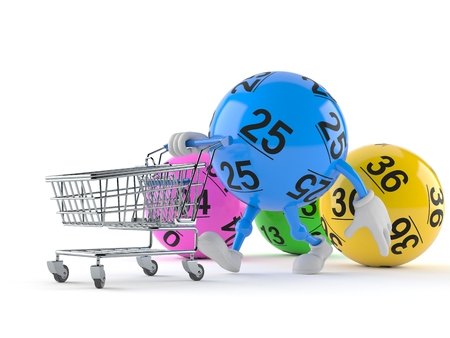 Lotto ball character with shopping cart isolated on white background. 3d illustration