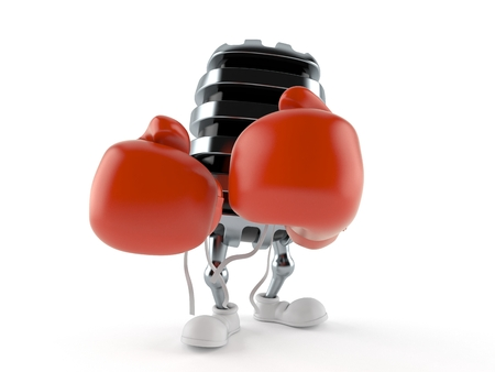Microphone character with boxing gloves isolated on white background. 3d illustration