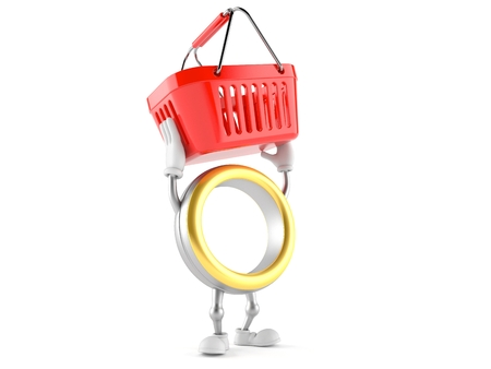 Wedding ring character holding shopping basket isolated on white background. 3d illustration Banco de Imagens