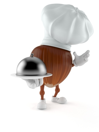 Hazelnut character holding catering dome isolated on white background. 3d illustration