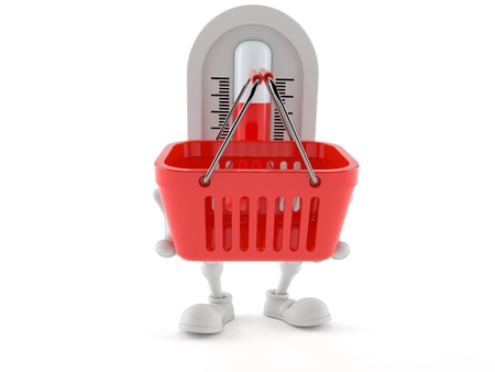 Thermometer character holding shopping basket isolated on white background. 3d illustration Stock Photo