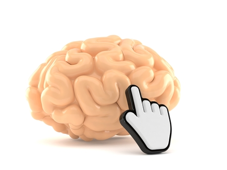 Brain with web cursor isolated on white background. 3d illustration