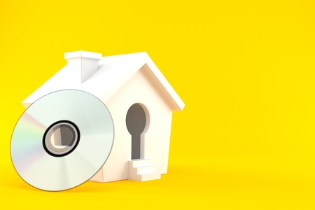 Cartoon house with cd isolated on orange background. 3d illustration