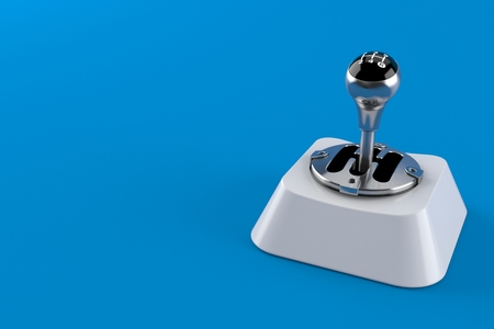 Gearshift on computer key isolated on blue background. 3d illustration Imagens