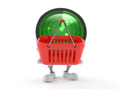 Radar character holding shopping basket isolated on white background. 3d illustration 写真素材