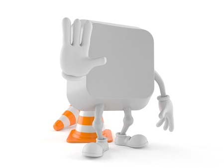 Computer key character with stop gesture isolated on white background. 3d illustration