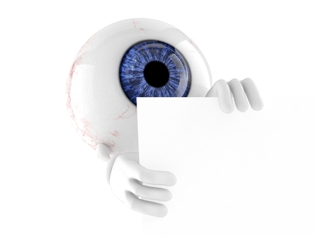 Eye ball character isolated on white background. 3d illustration