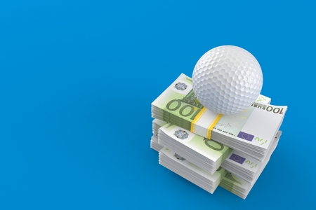 Golf ball on stack of money isolated on blue background. 3d illustration