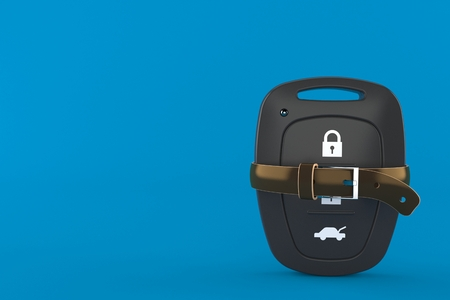 Car remote key with tight belt isolated on blue background. 3d illustration