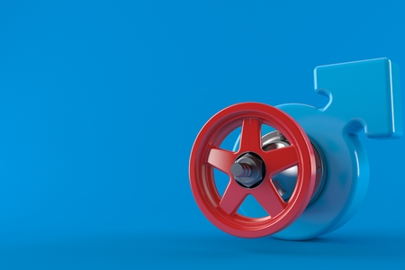 Male gender with valve isolated on blue background. 3d illustration