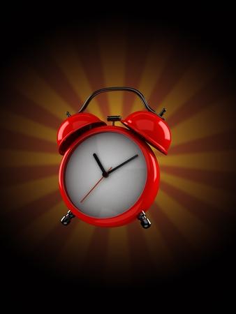 Alarm clock on rays background. 3d illustration Banco de Imagens