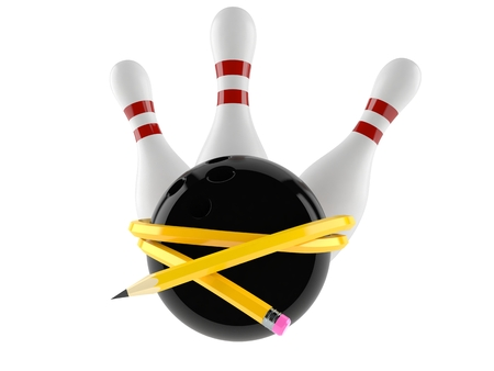 Bowling ball and pins with pencil isolated on white background. 3d illustration