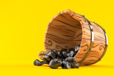Coal inside wooden bucket isolated on orange background. 3d illustration Stock Photo