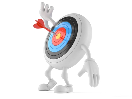 Bulls eye character looking up isolated on white background. 3d illustration Stok Fotoğraf