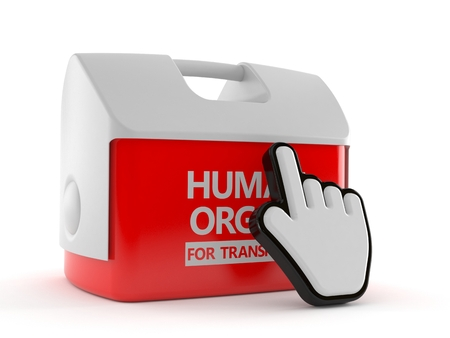 Cooler for human organ with web cursor isolated on white background. 3d illustration