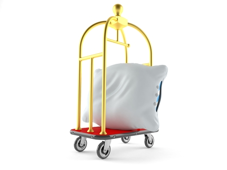 Pillow with hotel luggage cart isolated on white background. 3d illustration