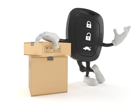 Car remote key character with stack of boxes isolated on white background. 3d illustration Reklamní fotografie - 118793518