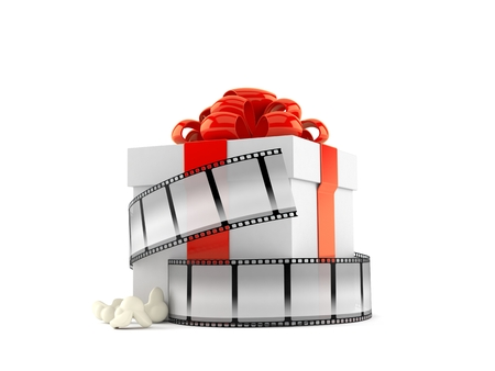 Gift box with film strip isolated on white background. 3d illustration