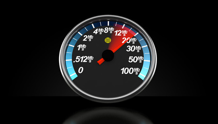Network meter on black background. 3d illustration