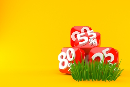 Percent numbers on grass isolated on orange background. 3d illustration