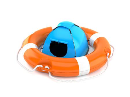 Tent inside life buoy isolated on white background. 3d illustration Stock Photo