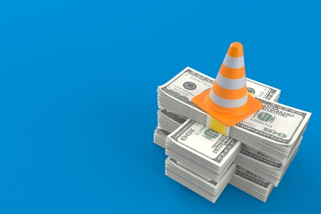 Traffic cone on stack of money isolated on blue background. 3d illustration Stok Fotoğraf