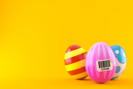 Easter eggs with barcode isolated on orange background. 3d illustration Stock Photo