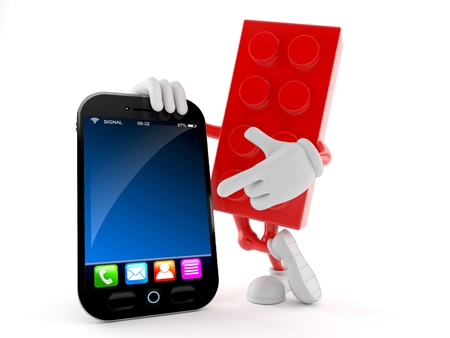 Toy block character with smart phone isolated on white background. 3d illustration Banco de Imagens
