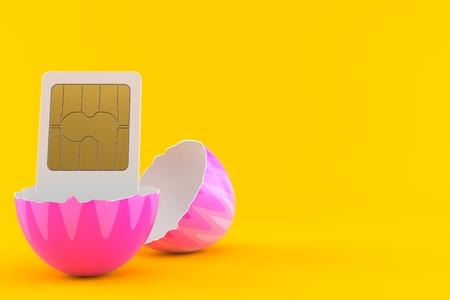 SIM card inside easter egg isolated on orange background. 3d illustration