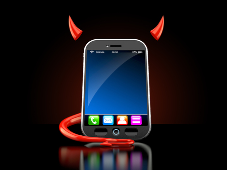 Smartphone with devil horns and tail on black background. 3d illustration Stock Photo