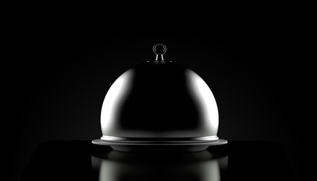 Catering dome on black background. 3d illustration Reklamní fotografie