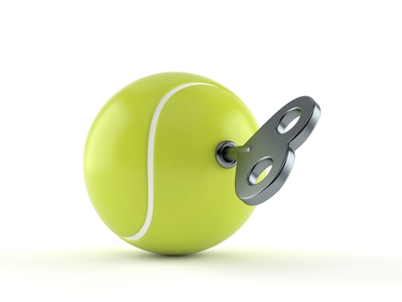 Tennis ball with clockwork key isolated on white background. 3d illustration Stock Photo