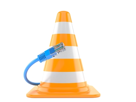 Traffic cone with network cable isolated on white background. 3d illustration Banco de Imagens