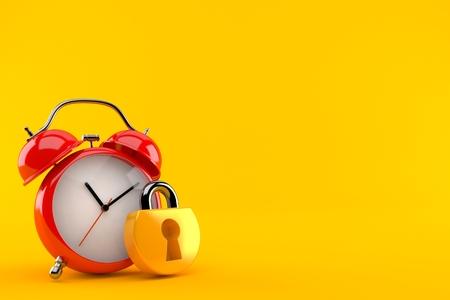 Alarm clock with padlock isolated on orange background. 3d illustration