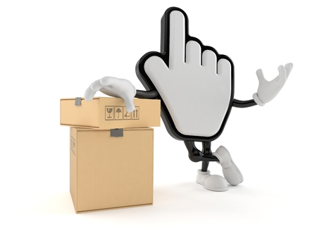 Cursor character with stack of boxes isolated on white background. 3d illustration Reklamní fotografie - 119152004