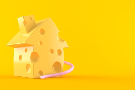 Cheese in house shape isolated on orange background. 3d illustration Stock Photo