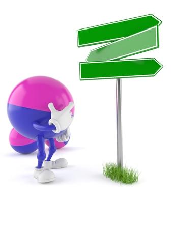Paintball character blank signpost isolated on white background. 3d illustration Reklamní fotografie