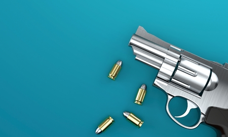 Gun with bullets on blue background. 3d illustration