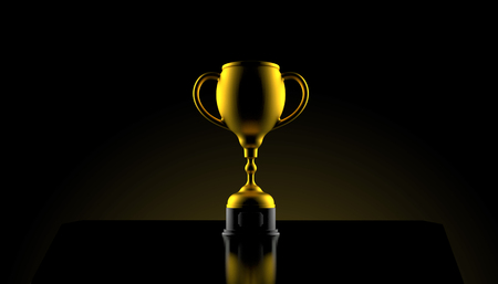 Golden trophy on black background. 3d illustration