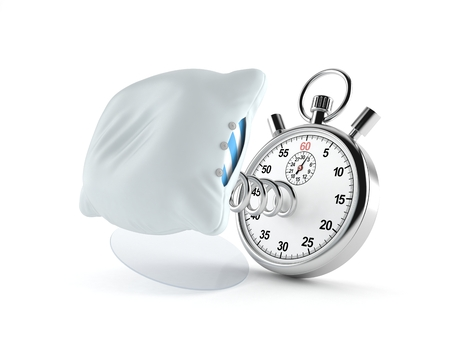 Pillow with stopwatch isolated on white background. 3d illustration
