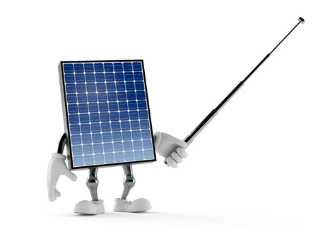 Photovoltaic panel character aiming with pointer stick isolated on white background. 3d illustration Stock Photo