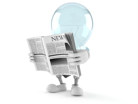 Light bulb character reading newspaper isolated on white background. 3d illustration