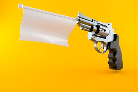 Gun with blank flag isolated on orange background. 3d illustration Stock Photo