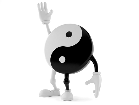 Jing Jang character with hand up isolated on white background. 3d illustration