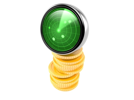 Radar with stack of coins isolated on white background. 3d illustration