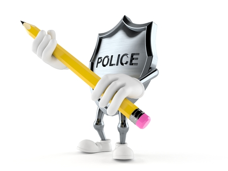 Police badge character holding big pencil isolated on white background. 3d illustration