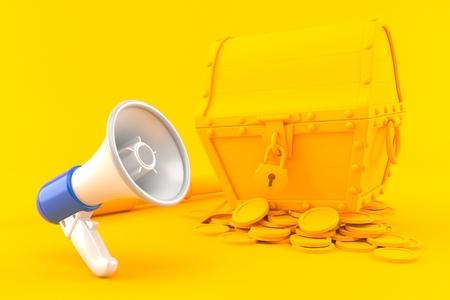 Treasure background with megaphone in orange color. 3d illustration