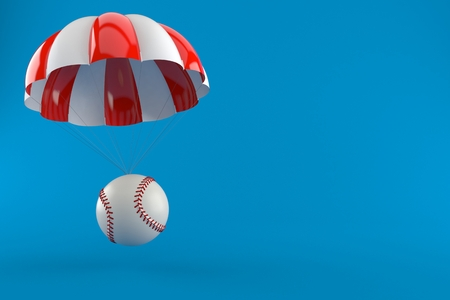 Baseball ball with parachute isolated on blue background. 3d illustration Stock Photo