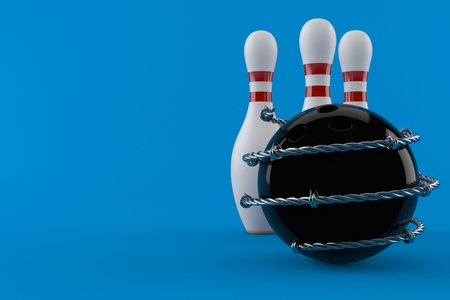 Bowling ball and pins with barbed wire isolated on blue background. 3d illustration Stock Photo
